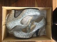 Red or Dead, Silver glitter, mary jane shoes, used a few times, in good condition. size 6.
