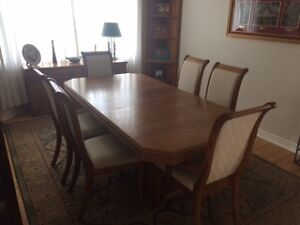 oak finish dining room set
