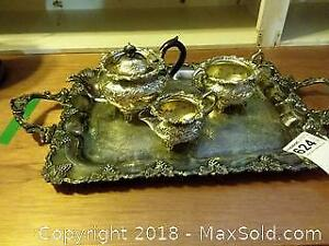 Silver Plated Tray and Tea Set A