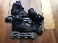 Girl's/women's inline skates + knee and elbow pads