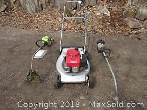 2 Gas Powered Weed Trimmers and 1 Honda Lawnmower - B