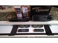 3d Home cinema projector/glasses/screen/blurayplayer