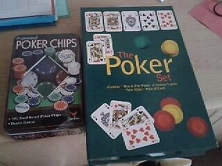 'The Poker Set' + Tin of 100 duel toned poker chips. Brand new. £10. GREAT XMAS PRESENT