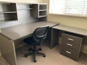 Desk, return, drawers and big shelf unit