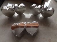 4 silver double heart balloon weights