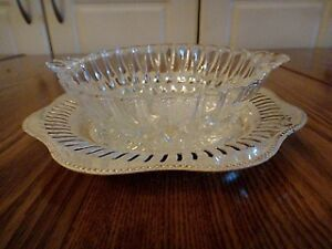Elegant Glass Relish Dish with Silver Tray