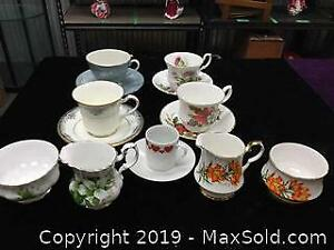 Vintage Cups and Saucers, and Cream and Sugar Sets