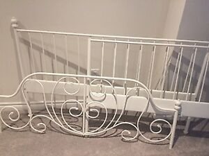 Queen Bed Frame - white metal with decorative curves