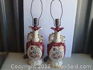 Vintage Pair Of Large Lamps