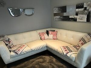 SOLD - Pending Pickup Thurs Evening -  White Leather Couch