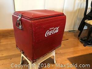 Antique Coca-Cola Cooler and Coke Tray