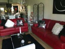 3 SEATER & 2 SEATER REAL ITALIAN  LEATHER RED LOUNGES Kwinana Beach Kwinana Area Preview