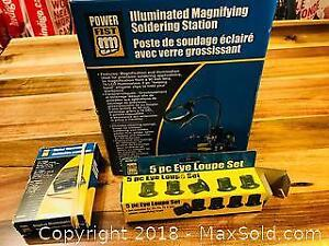 Illuminated Magnifying Soldering Station Like New In Box and More