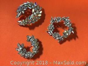 3 Sherman signed Brooches Costume Vintage Jewelry