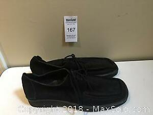 Pair of Large Size Men's Black Suede Shoes Size 16.5