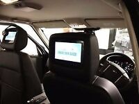 Pair of tv dvd audi gps mp3 tv screens x2 with zip black covers to fit different cars