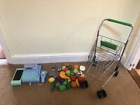 Childrens Cash register, waitrose trolley and play food