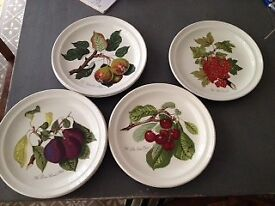 8 Pomona dinner plates, various fruits, without border