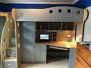 Nika Loft Bed with Desk and Cabinets