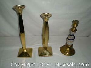 Antique brass & glass candle stick with snake and 2 solid brass candle sticks
