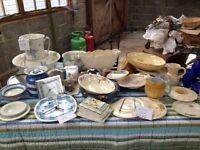 Job lot 1920's/30s collectors items - china, clocks, jug & bowl set