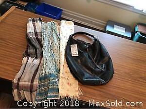 4 Ladies Scarves and Leather Purse - A