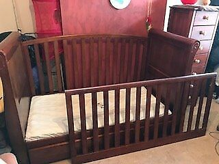 Fantastic Condition Dark Wood Nursery Furniture 3 Piece Set