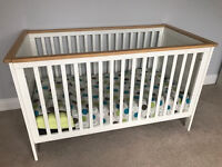 Mothercare Lulworth Cot Bed - White with pine wood trim