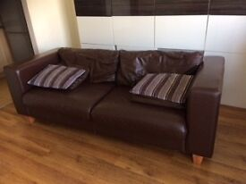 Chocolate leather sofa 214cm modern style MUST SELL FAST due to move £5