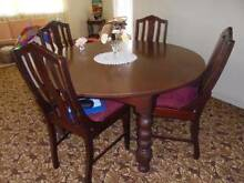 Unusual 1940's round dining table and four chairs Silky Oak Everton Park Brisbane North West Preview
