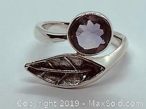 One Stamped 925 Silver Ring with Amethyst Size 7