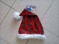 SCOTTISH RED TARTAN SANTA HAT - NEW WITH TAGS