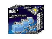 Brand new sealed Braun CCR3 Clean & Renew Mens Shaver Hygienic Cleaning Refill Cartridge 3 Pack.