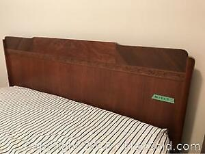 Vintage Solid Wood Double Bed Frame with Mattress and Box Spring
