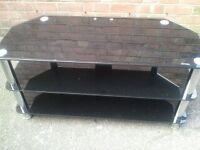 BLACK AND CHROME TV MEDIA UNIT/STAND safety glass compliant (can deliver)