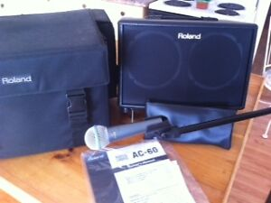 Roland AC60 AcousticAmp Shure 58Bata Mic and yorkville mic stand