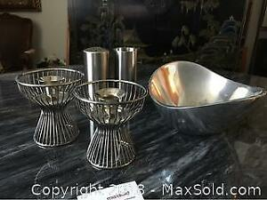 Stainless Steel SP, Bowl And Candle Holders