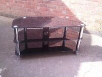 BLACK GLASS AND CHROME TV STAND as new (safety glass) SHERWOOD NOTTINGHAM NG5