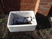 BELFAST STYLE SINK, USED IN GARDEN AS PLANTER. GOOD CONDITION