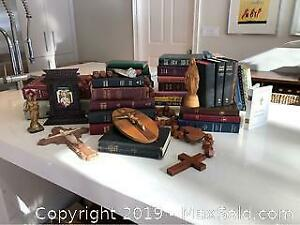 Vintage Religious Collectibles, Ornate Frame, Bibles, Statues Etc....
