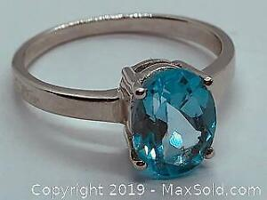 Natural Blue Topaz and 925 Silver Ring Size 7