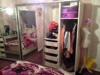 IKEA solid wardrobes 2m width in white,plenty of storage space