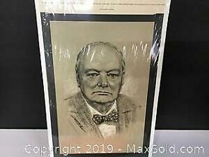 vintage Charcoal portrait print Winston Churchill