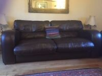Excellent condition 1 x 3 seater Dark Brown Leather Sofa with two cushions, John Lewis
