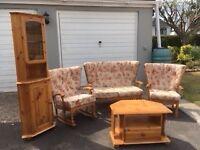 Living room furniture set, mint condition, sofa, rocking chair, armchair, corner unit & tv unit