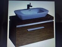 Twyford Vello Wenge Wall Hung Vanity Units & White Basins