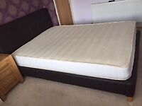 King Sized - Brown leather bed frame and mattress
