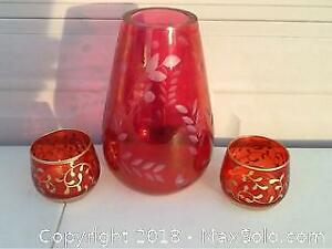 Vintage Red Vases For Christmas