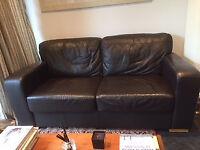 Large, soft leather sofa