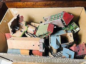 BOX OF RECLAIMED FALLER BUILDINGS FROM LARGE HO SCALE LAYOUT